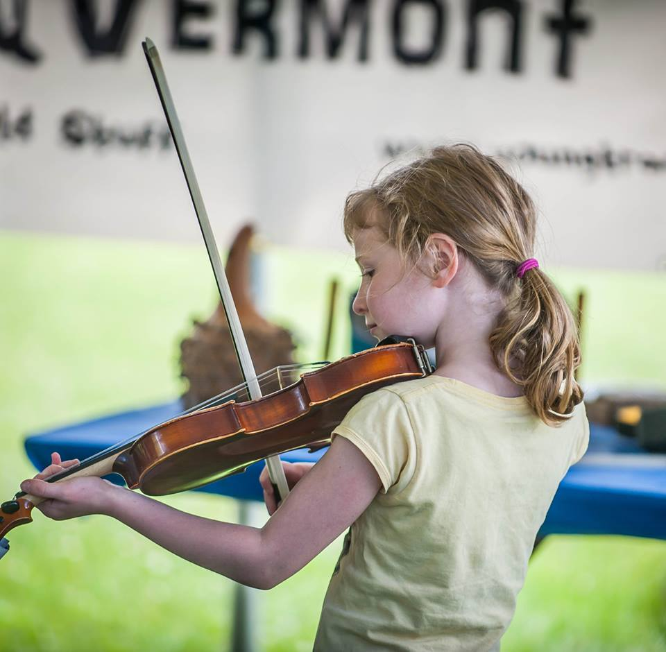 fiddling at Vermont History Expo in Tunbridge